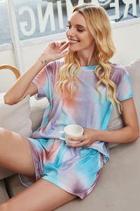 DHL Free For Pijamas Tiedye Para Meninas Pigiama Da Donna Por Girocollo Tye Dye Curto roxo Luz Oversized Tie Dye shirt da ação QRP sqtrimmer