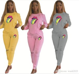 2020 new Women Tracksuits Sports Set Big tongue Sweatsuit Outfit long hole Pants Bodycon Autumn And Winter Clothing Plus Size