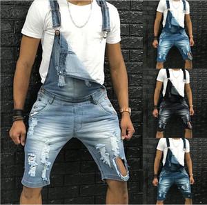 Herren-Loch-Taschen-Gesamt-Jeans Mann Summer Light Gewaschene 5xl Knopf lose Demin Shorts Männer Art und Weise der beiläufige Kleidung