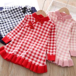 Classic National Sweater cheongsam baby girl plaid sweater National style cheongsam girls' knitted ancient dress 2693