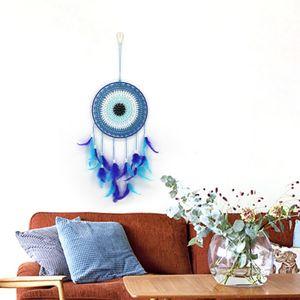 Hecho a mano azul pluma Dream Catcher decorativos colgantes adornos para pared ventana dormitorio sala de estar Decoración