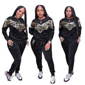 Sequined Spliced Casual 2 Piece Outfit Women Long Sleeve Warm Tops And Drawstring Pockets Velvet Pant Autumn Plus Size Set CM278 T200606
