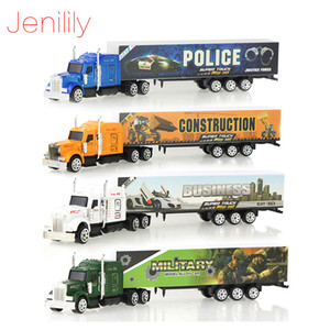 4 Pcs set Wholesale 5 Color Container Truck Diecast Alloy Metal Car Model Kid Children Educational Toys Christmas Birthday Gift