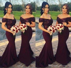 Sequins En Örgün Abiye Giyim Wedding Guest Elbise Custom Made Ucuz ile Shoulder Denizkızı Gelinlik Giydirme Kapalı Burgundy