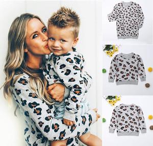 Focusnorm família Matching roupa da filha da mãe Leopard manga comprida camisola Tops Moda Sweater Outfit