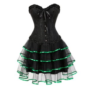 Sapubonva Lace Evening Dress Shapers Green Red Sexy Women Corset and Bustier Push up Gothic Corset Dress Halloween Plus Size