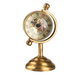 독특한 스피닝 글로브 여성 남성을위한 골드 데스크 시계 주머니 시계에 대한 크리 에이 티브 선물 구리 테이블 시계 기계 주머니 시계