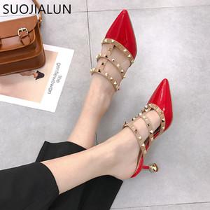 SUOJIALUN Femmes D'été Talons Hauts Mules Pantoufles Dames Pointé Sur Sexy Rivets En Plein Air Chaussures Femme Mode Sandales Zapatos Mujer