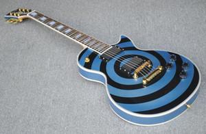 Изготовленный на заказ магазин Zakk Wylde bullseye Pelham Blue Black Electric Guitar White Block Pearl Inlay, Copy EMG пассивные звукосниматели, золотая фурнитура
