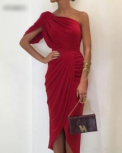 Kırmızı Tek Omuz Kısa Kılıf Kokteyl Elbiseleri 2020 Dantelli Ruffles Şık Diz Boyu Örgün Parti Akşam Hüsniye Moda