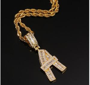 A-Z Baguette Iniciais Carta Bolhas letras costumes Colar de Pingente de 24 polegadas Corda Cadeia de Prata de Ouro Zirconia Homens Hip Hop Colar de Jóias