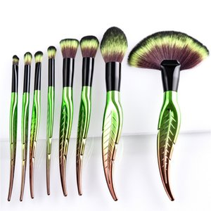 8 stücke 10 stücke Professionelle Make-Up Pinsel Set Foundation Lidschatten Eyeliner Lip Brush Tool Grünes blatt Designer Kosmetik Werkzeugbürste