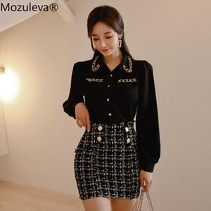 Oficina Conjunto Mozuleva 2020 camisa del resorte de las mujeres de la manga de la linterna Negro blusa de la gasa + Mezcla de lana a cuadros Falda tubo corto Señora 2 Piezas