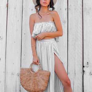 Women Two Piece Outfits Skirt Boho Style Strapless Women 2 Piece Summer Set Holiday Set Skirt Top With Split Ropa Mujer #3