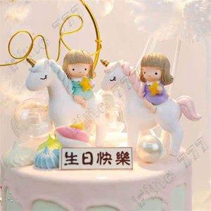 Montando Ação Unicorn Girl Doll Bolo Decoração PVC Figura bonito da estrela Pegasus Início desktop Resina Decoração