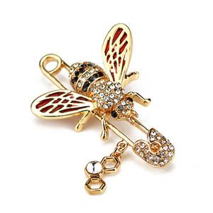 Bonito Abelha Mulheres Broches Animal Shapes Crystal Bee Broche Pinos Emblemas Para Roupas Broches Femininos
