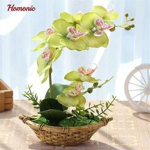 Novo Design Borboleta Artificial Orchid Plantas em vasos de seda decorativa flor em vasos Phalaenopsis Orchid Bonsai para Home Varanda Decoração