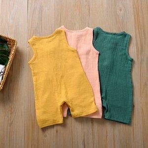 Yeni Bebek Kız Rompers Yaz Çocuk Katı Baskı Pamuk Kolsuz Elastik Suspenders Pantolon Giyim tulumları Pantolon