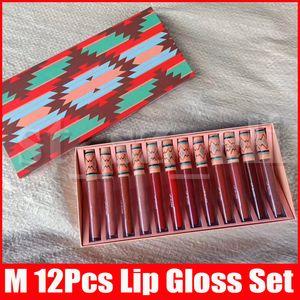 M maquillaje de los labios del lápiz labial líquido Christmas Collection Set Barra de labios mate 12 colores LipKit 12pcs / set brillo de labios Brillo de labios