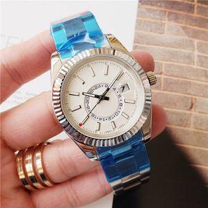 Calendário New Mens Automatic Deweller Relógio Mecânico 42 milímetros Assista Aço Inoxidável Sky Wristwatch Mens Negócios