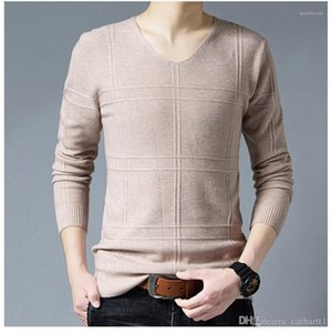 Sweaters Casual V Neck Pullover Long Sleeve Mens Sweaters Slim Warm Males Apparel Panelled Mens Designer