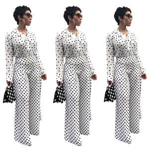 Blanc Polka Dot Motif Impression Femmes Pantalons Costumes Deux Pièces Manches Longues Revers Cou Manteau Haut Taille Haute Striaght Pantalon Décontracté Ensembles 2019