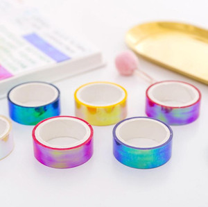 Laser Glitter Stationery Tape Candy Colors Decorative Adhesive Masking Tapes For Scrapbooking Girls Diy Albums Decorations 2016 15mm*5m