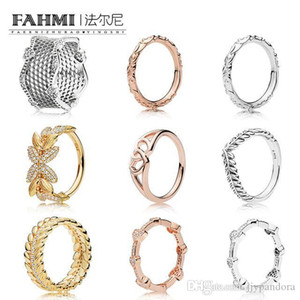 HYWo 100% 925 Sterling Silver SHINE GRAINS OF ENERGY RING ROSE CROWNED HEARTS RING LACE OF LOVE RINGs REGAL PATTERN Seeds RING