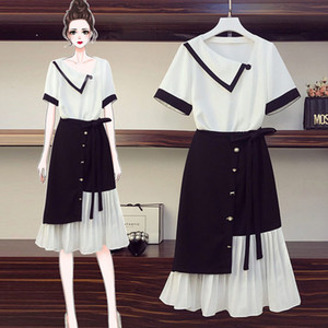 Plus Size Women's 2020 New Summer Chiffon Shirt Top + Skirt Two-piece Suit Fashion Patchwork Irregular Pleated Skirt Set K363