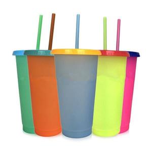 حار بيع درجة الحرارة الإبداعية تغيير لون كأس الصيف يشرب زجاجة المياه التي يعاد استخدامها البلاستيك البهلوان مع اغطية القش كوب T9I00374