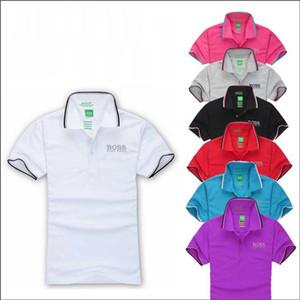 Yeni erkekler HUGO BOSS kadınlar erkek polo gömlek Lüks erkek yaka tişört kısa kollu tişört erkek markası rahat nefes alabilen
