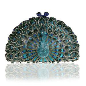 Capítulo del diseñador del pavo real-Bolso de noche recorte del diamante de la aleación del embrague incrustada hueco cristalino del monedero del bolso con el corchete del imán - SK