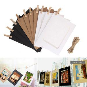Quadro 3inch / 5inch / 6inch Photo Wall com clipes e corda Frame de papel para fotos DIY Hanging Álbum de Fotos Home Decor