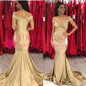 2019 Classic Off The Shoulder Prom Dresses Mermaid Pleats Elastic Satin Sweep Train Formal Evening Occasion Party Dresses Custom Made
