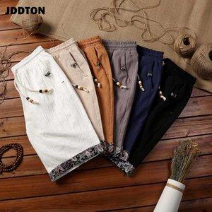 JDDTON verano de algodón para hombre Pantalones cortos de lino flojo Homme longitud de la rodilla cortocircuito de la playa del estilo chino transpirable hombre de la manera Streetwear JE451