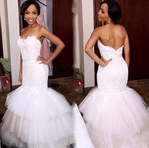 2020 Romantic South African Mermaid Wedding Dresses Sweetheart Beaded Sweep Train Tulle Tiered Bridal Gowns Cutom Made