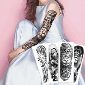 Big Grande Falso Braço Inteiro Preto temporária Body Art Tattoo Sticker Lion Guerreiro Crown Nun Pigeon Sexy Angel Decalque do tatuagem impermeável 2020