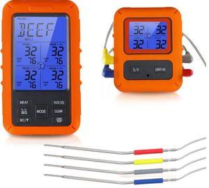 Temperatura Senso Kitchen Turquia Digital Cooking Food Grill termômetro LCD sem fio BBQ Meat Termômetros 4 Waterproof Probe LSK189