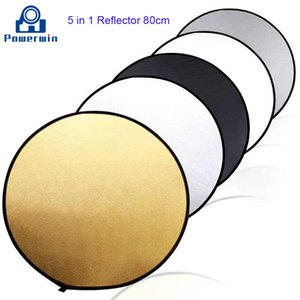 Powerwin 5 in 1 80 cm Gold White Reflector Climbable Disc Photo Studio Video Lighting Diffuser Softbox Backstood Light Stand