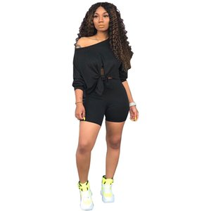Summer 2 Piece Sets for Women Sexy Long Sleeve Crop Tops Skinny Shorts Two Piece Outfits