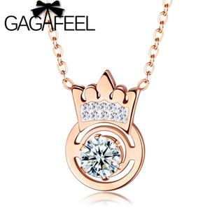 Collana donne Acciaio pendente di cristallo Collana GAGAFEEL Rose Gold Crown Per amante regalo