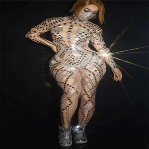 H17 Singer club perform rhinestones jumpsuit elastic mesh bodysuit pole dance diamonds tights women leotard dj sequins outfit bar party wear