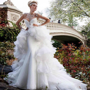 Glamorous Rhinestones Beaded Wedding Dresses 2020 Sheer High Neck Illusion Long Sleeve Mermaid Bridal Gowns With Detachable Train Vestidos