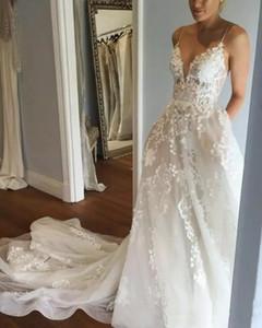Bohemian Sexy Backless Wedding Dresses Spaghetti Beach Bridal Gowns Lace Applique Court Train A Line Plus Size Wedding Dress