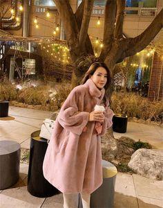 Kürk Bayan Mont Tasarımcı Katı Pembe Renk Moda Sıcak Giysiler Rahat Lüks Uzun Palto Kış Faux