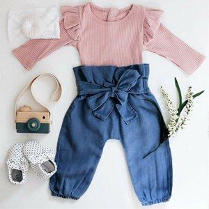 2PCS Imcute Новорожденный Baby Girl Pink вязаная одежда с длинным рукавом Romper Топ + брюки Брюки Одежда Новорожденный Outfit Одежда