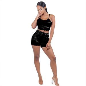 Sexy U-neck Woman 2Pcs Outfits Solid Color Vests and Shorts Ladies Sexy Sets Lace Womens Condole Belt Suit