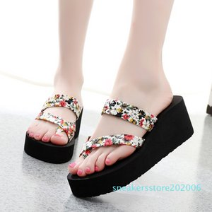 Wedge Slippers Women Flip Flop Flower Shoes for Women Sandals Mules High Heels Slippers Shoes Woman Sexy Home Slippers Summer s06