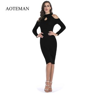 Aoteman New Casual Summer Dresses Women Sexy Vintage Long Sleeve Bodycon Pencil Office Dress Solid Party Dresses Female Vestidos Y190507
