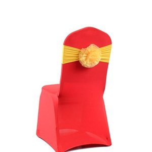 Stretch Elastic No-tie Chair Back Flower Covers Sash Bandage for Wedding Banquet Birthday Party Decoration Supplies